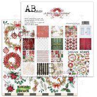 "Дизайнерски комплект хартии ""A Holly Jolly Christmas"" - 30см, ABStudio"