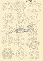 """Елементи от бирен картон """"Снежинки"""", сет 753"""