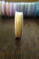 Ролка двуцветен шнур, жълто и бяло, 4.6м