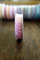 Ролка двуцветен шнур, ярко розово и бяло, 4.6м