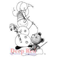 """Гумен печат """"Снежен човек с гирлянд"""""""